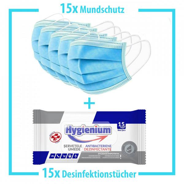 15x Mundschutz + 15x Desinfektionstücher